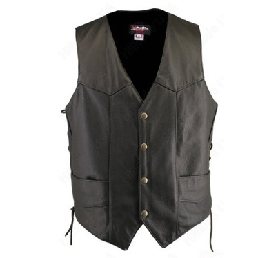 0604.00 Men's Black Leather Biker Vest with Inner Pockets