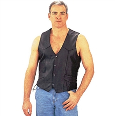 0605.00C  Men's Black Leather Motorcycle Vest (56-60)