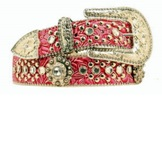 N3516629 Women's Nocona Hot Pink Belt with Floral Crystals