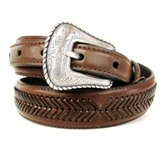 N2476802 Men's Nocona Brown Laced with Floral Buckle Belt