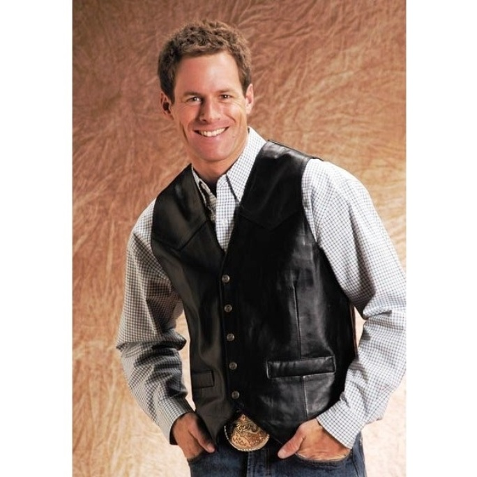 275520700BL Men's Black Lamb Skin Leather Vest