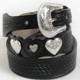 C80033 Womens Silver Creek Cowgirl Heart Show Black Belt