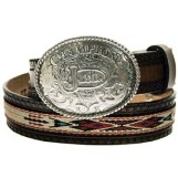 812TN Children's Justin Tan Ribbon Belt with Champion Buckle