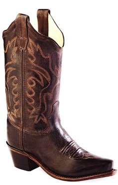 CF8234 Children's Old West Dark Brown Leather Cowboy Boot