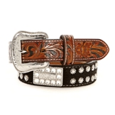 N3498267 Men's Nocona Black hair on Star Studded Belt