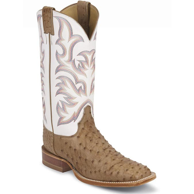 8572 Men's Justin Square Toe Full Quill Ostrich Cowboy Boot