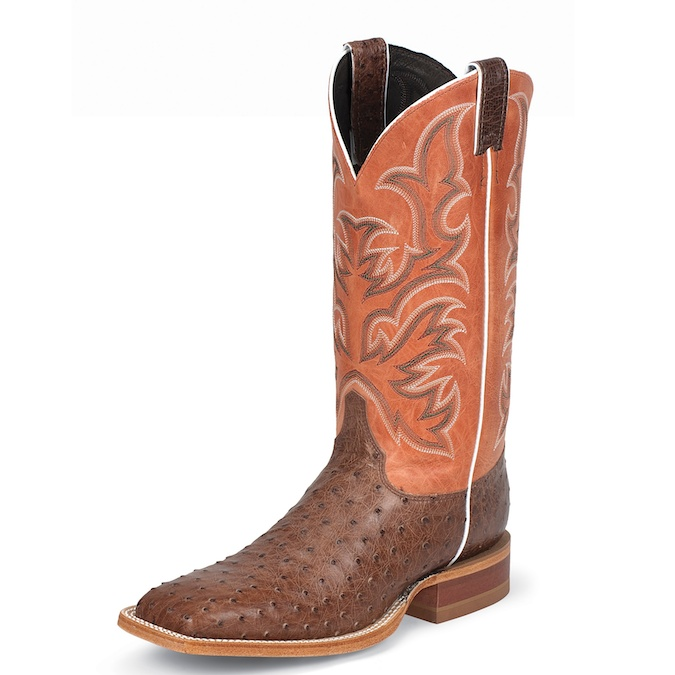 8573 Men's Justin Square Toe Full Quill Ostrich Cowboy Boot