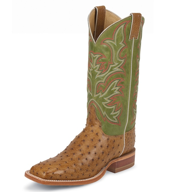 8574 Men's Justin Square Toe Full Quill Ostrich Cowboy Boot