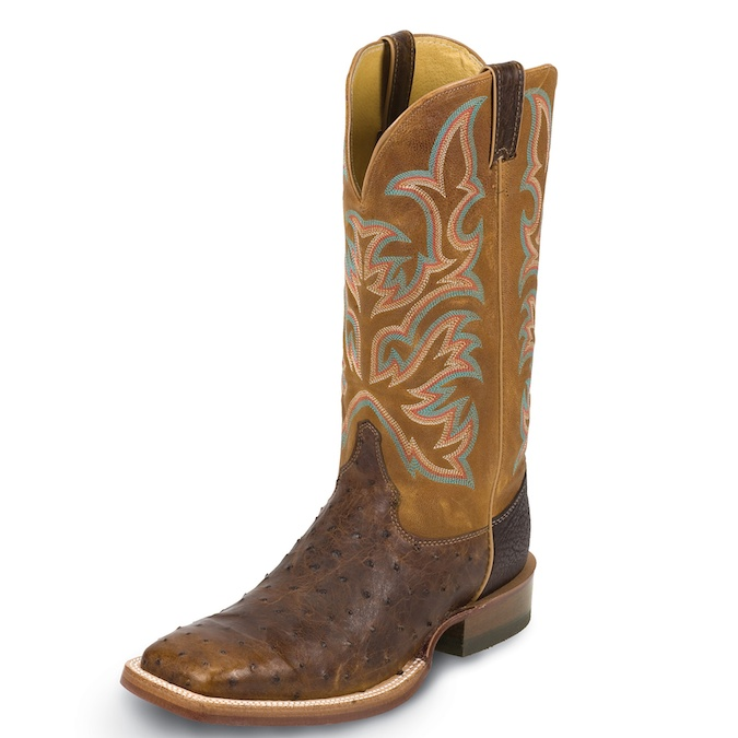 8577 Men's Justin Square Toe Full Quill Ostrich Cowboy Boot