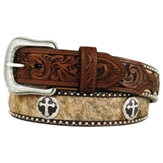 8743 Men�s 3D Brown Antique Cross With Hair Inlay Belt
