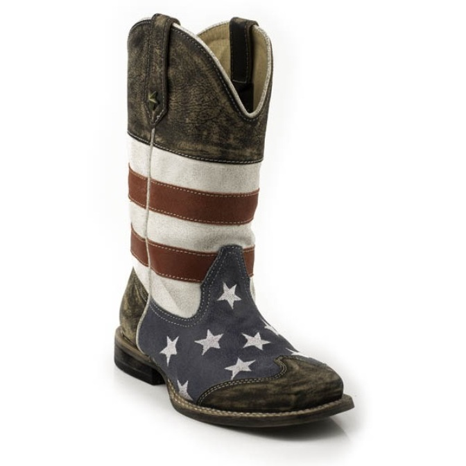 918903103BU Kid's Roper Square Toe American Flag Cowboy Boot
