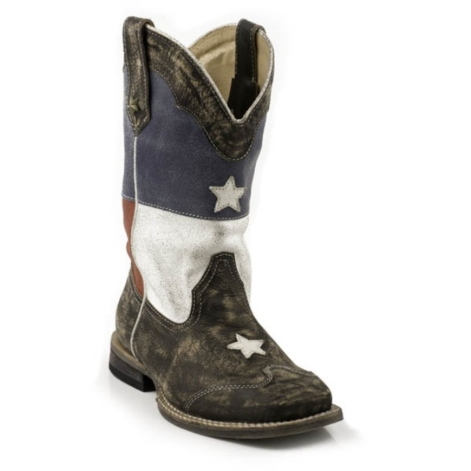 918903203BR Kid's Roper Texas Flag Square Toe Cowboy Boot