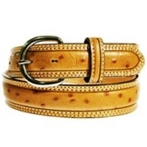 9347L Men's Tony Lama Double Stitch Stockman Ostrich Print Belt