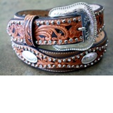 N2499448 Men's Nocona Tooled Concho Belt