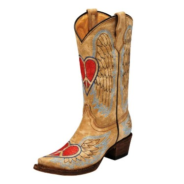 A1031 Children's Corral Tan Vintage Heart and Wings Cowboy Boot