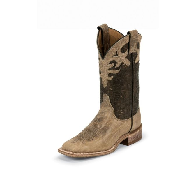 BRL318 Women's Justin Bent Rail Antique Beige Cowhide Roper Boot