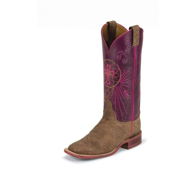 BRL320 Women's Justin Bent Rail Old Map Cow Roper Boot