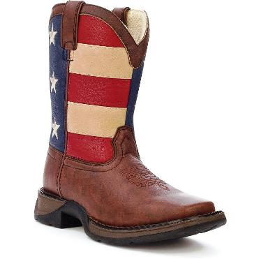 "BT245 Children's Lil' Durango 8"" Brown/Flag Roper"