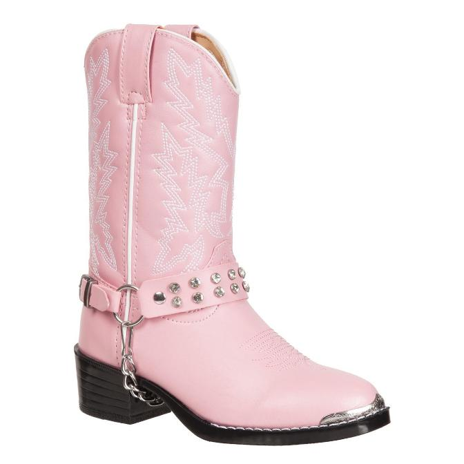 BT568 Children's Girls Pink Rhinestone Western Cowboy Boot