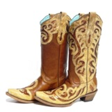 C1182 Women's Corral Copper Sequined Swirl Snip Toe Cowboy Boot