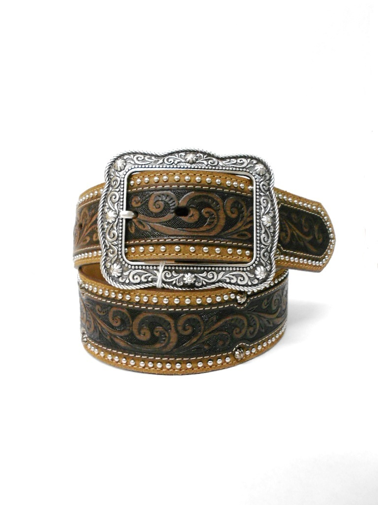 C21185 Men's Justin Midland Classic Tooled Brown Leather Belt