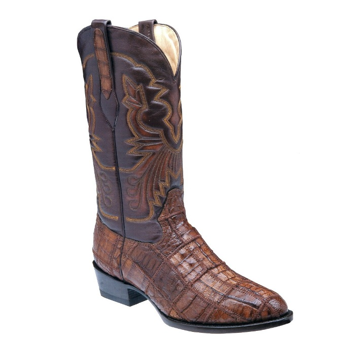 C2330 Men's Corral Chocolate Caiman Patchwork Exotic Cowboy Boot