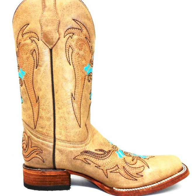 L5106 Womens Roper Boot Sand/Turquoise Brown Wing & Cross