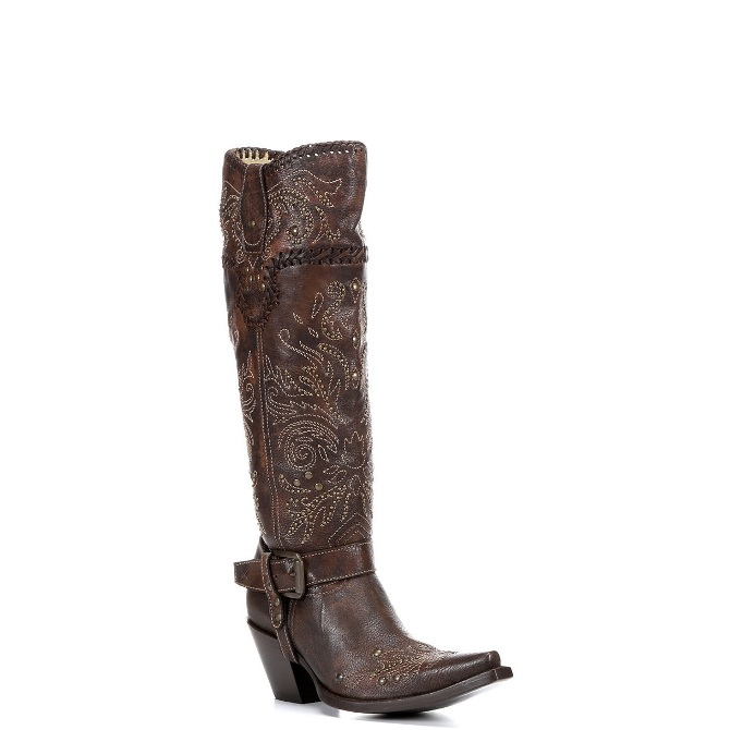 G1116 Women's Corral Brown Whip Stitch & Studs Tall Top Boot