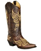 L5004 Women's Circle G Tobacco Butterfly Embroidered Cowboy Boot