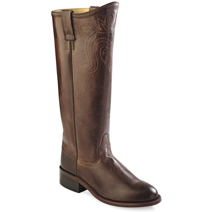 LB1624 Women's Old West Chocolate Brown Leather Riding Boot