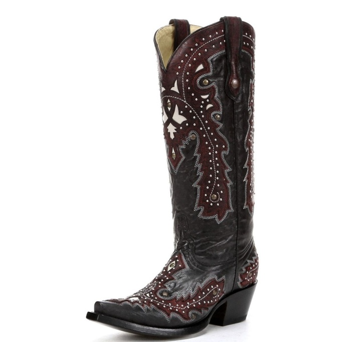 G1035 Women's Corral Black and Red Overlay w/ Studs Cowboy Boot