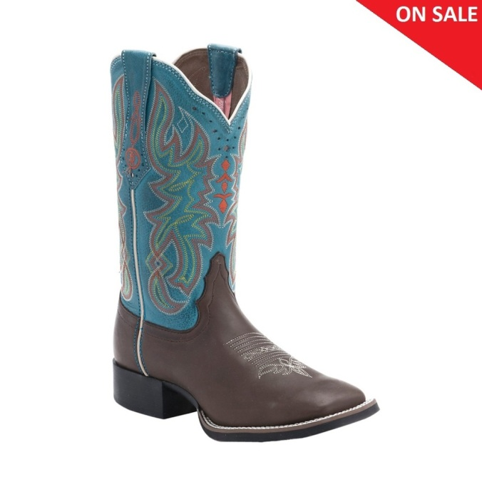 RR2112L Women's Tony Lama Chocolate Darby Square Toe Cowboy Boot
