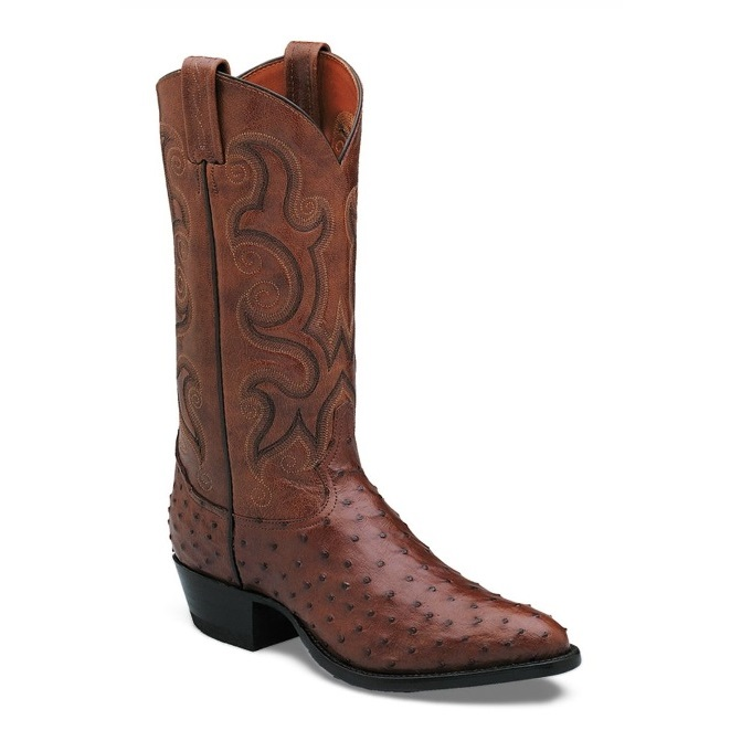 Tony Lama Brown Full Quill Ostrich Cowboy Boot
