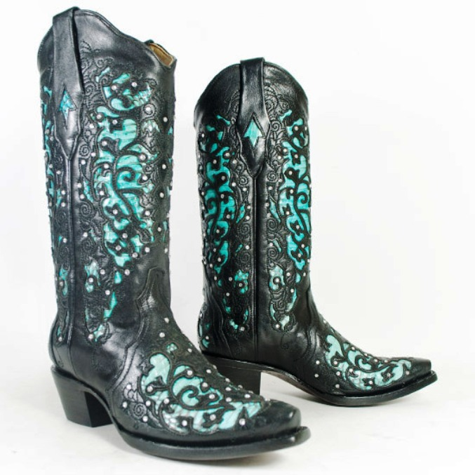 Corral Black and Turquoise Cobra Inlay w/ Crystals Cowboy Boot