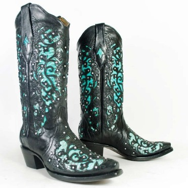 A1043 Women's Corral Black Turquoise Cobra Inlay Cowboy Boot