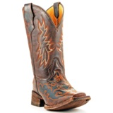 A1072 Children's Corral Brownn Distressed Square Toe Roper