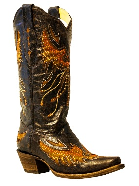A2632 Women's Corral Eagle w/ Crystal & Studs Snip Toe Boot