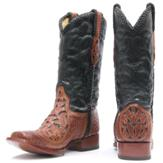 A6704 Men's Corral Chedron Black Willow Tooled Roper Cowboy Boot