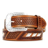 C12414 Men's Justin Diagonal Concho and Tooling Belt