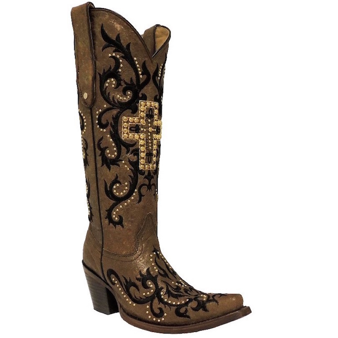 C2866 Women's Corral Tan and Black Cowboy Boot