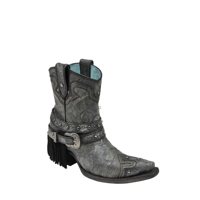 C2879 Women's Corral Fringe and Stud Cowgirl Ankle Boot