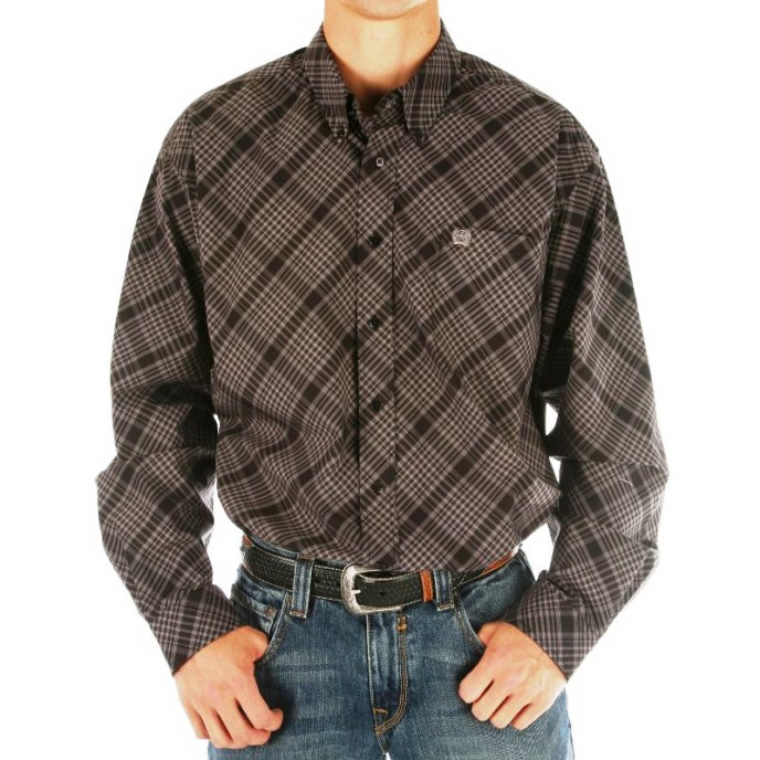 MTW1103700 Men's Cinch Grey and Black Plaid Long Sleeve Shirt