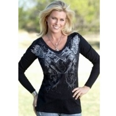 "H00171 Women's Cowgirl Tuff ""Burnout"" Black Long Sleeve Shirt"