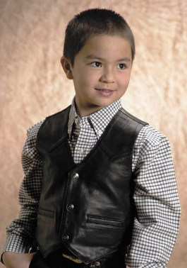 294520500BL Children's Black Leather Vest