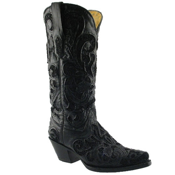 R1088 Women's Corral Black Goat w/ Black Lace Inlay Cowboy Boot