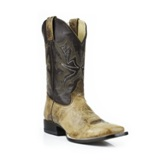 12208801865BR Men's Stetson Wide Square Toe Roper Cowboy Boot