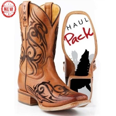 142000070084BR Men's Tin Haul Tattoo and Wolf Pack Cowboy Boot